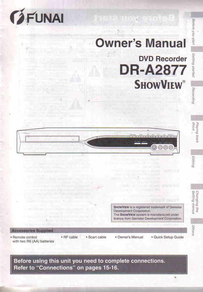 Funai DR A 2877 DVD Recorder English Owner´s Manual Bedienungsanleitung  Gebrauchsanleitung 11